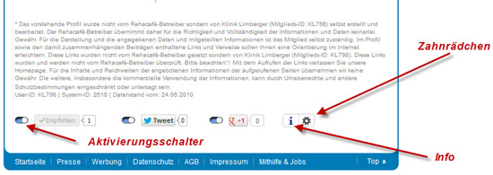 Rehacafe.de: Facebook - Google+ und Twitter Integration