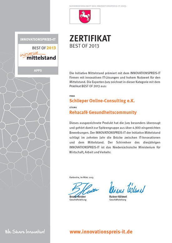 Innovationspreis-IT 2013 für das Rehacafé